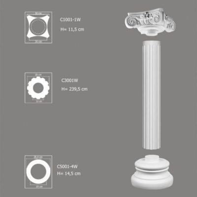 Kolumna dekoracyjna do wnętrz C3001W-1