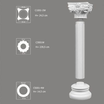 Kolumna ozdobna do wnętrz zestaw C3001W-2