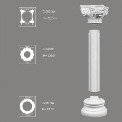 Ozdobna kolumna do wnętrz zestaw C3000W-2