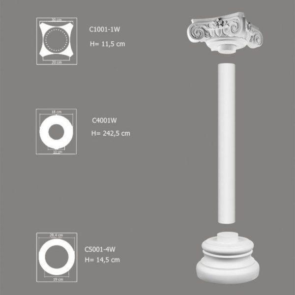 Ozdobna kolumna do wnętrz zestaw C4001W-1